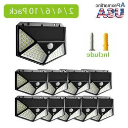 100 LED Outdoor Solar Powered Wall Lamp Motion Sensor Waterp