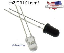10PCS 3mm 940nm LEDs infrared emitter and IR receiver 5 pair