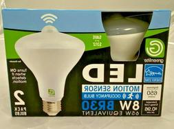 2 Pack LED Motion Sensor Light Bulb 8W BR30 3000k  65 Watt E