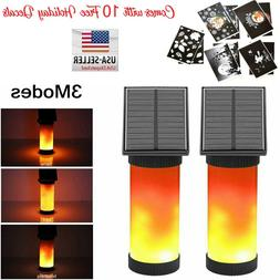 2 x solar powered flame torch light