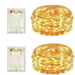 2 Pack Battery Operated 50 Count Mini Fairy Lights with Time