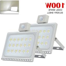 2X 100W Cool White PIR Motion Sensor LED Flood Light Outdoor