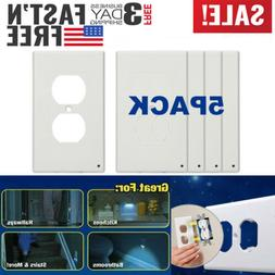 5 PCS Outlet Wall Plate Led Night Lights Cover Duplex With A
