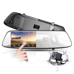 "Backup Camera 4.3"" Mirror Dash Cam 1080P TOGUARD Touch Scree"