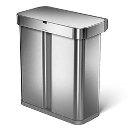 simplehuman 58 Liter / 15.3 Gallon Stainless Steel Touch-Fre