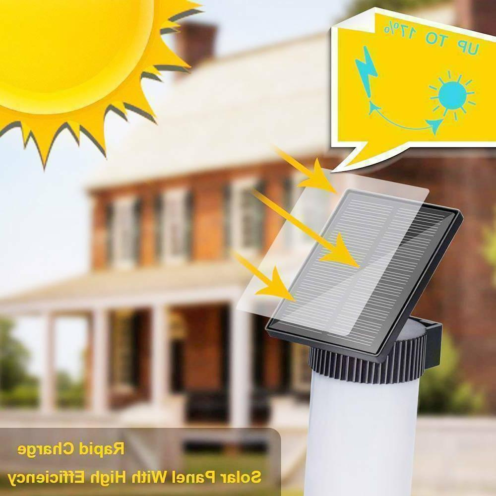 2 X Solar Flame Torch Light Garden Wall Lamp With Decals