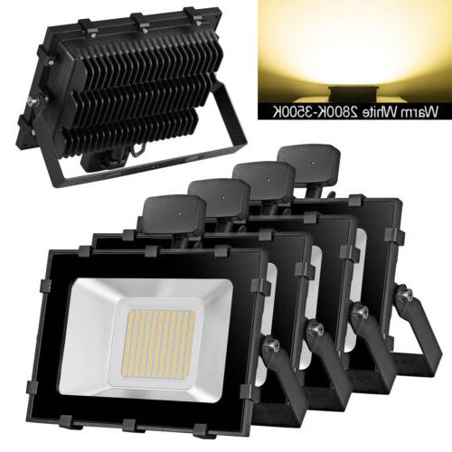 4x 100w led pir motion sensor flood