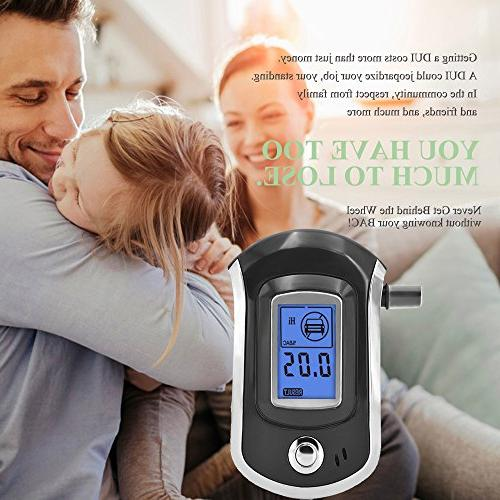 Alcohol Tester, Breathalyzer Digital with Semi-conductor Sensor, Background Light Pcs Mouthpieces Included