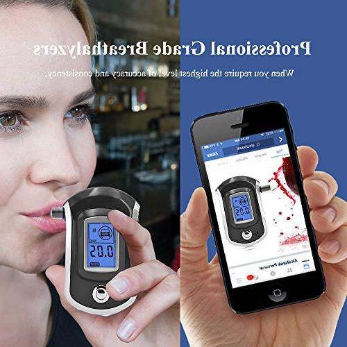 Alcohol Tester, with Sensor, Large Digital Display, Background Light + Pcs Mouthpieces Included