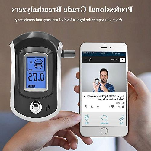 Alcohol Tester, Mouthpieces Personal Breathalyzer with Sensor, Digital Display, Background Light + 5 Pcs