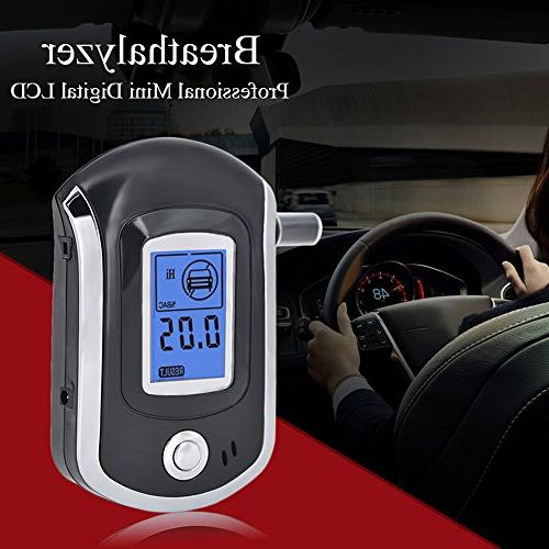 Alcohol Tester, Mouthpieces Breathalyzer Digital Analyzer with Semi-conductor Digital LCD Background 5 Pcs Mouthpieces Included