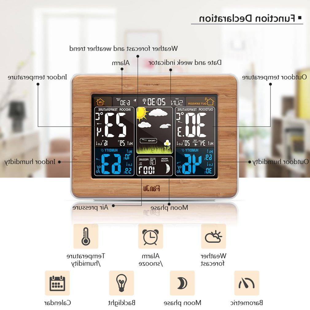 Weather Forecast Clock Bamboo <font><b>Electric</b></font> <font><b>Electronic</b></font> Rf US