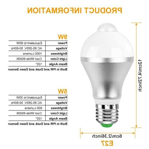 E27 Motion Light Bulb Auto LED 9W 5W