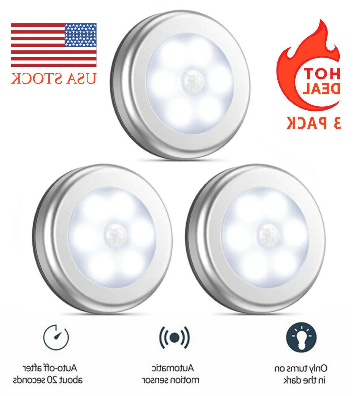 silver motion sensor lights battery powered led