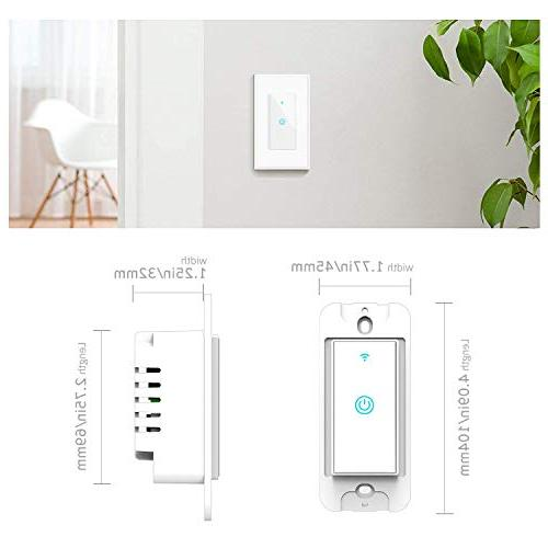 Smart Switch, Light Works with Alexa Requires In-Wall Installation, Control Remotely App, No