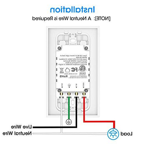 Smart Switch, Aicliv Light Alexa Google Requires In-Wall Installation, Control Light Remotely Hub Required
